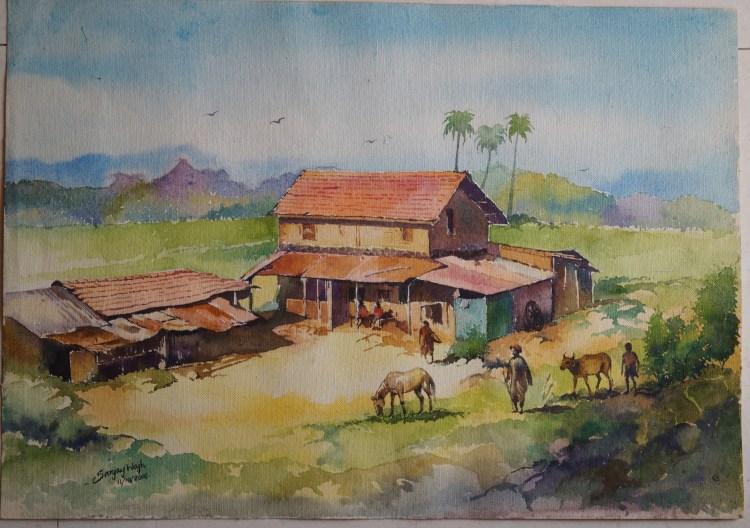 Watercolor landscape !!! Morning !!! 50×36 cm https://www.facebook.com/chitrakarsanjaywagh Sanj