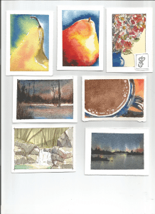 Artist Trading Cards are one of my go-to warm ups. Watercolor ATC