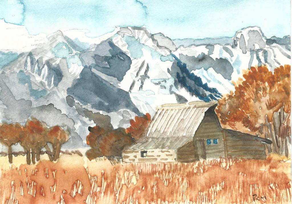 """""""High Country"""" for the paint what you want challenge. It is 4″ X6″ watercolo"""