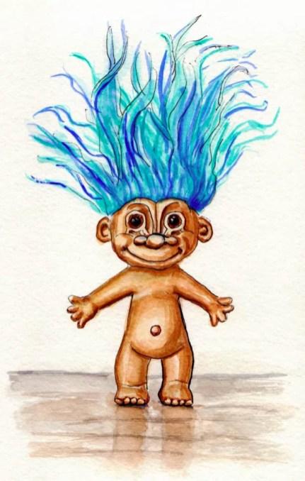 Troll Doll Blue Hair Watercolor Sketch
