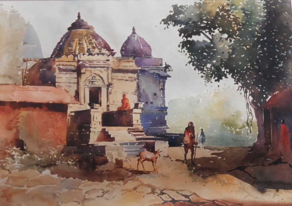 Sundarnarayan temple, Nashik India. Watercolor On Paper! Plein air Art https://www.facebook.com/chit