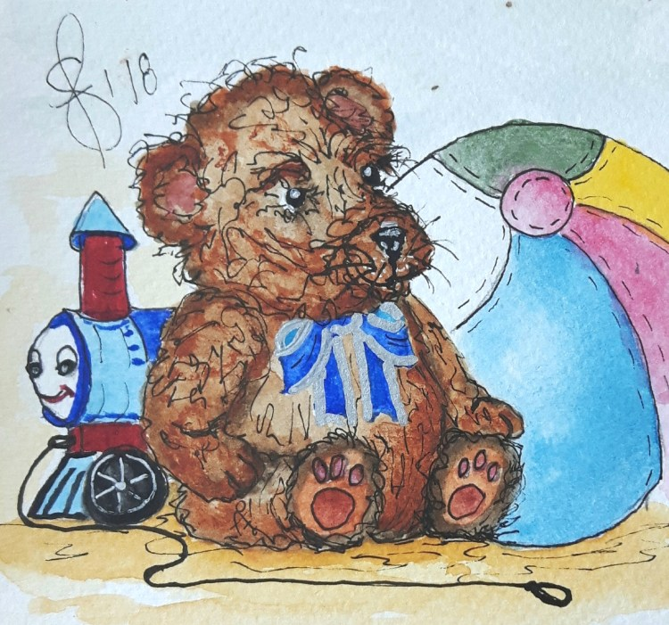 """Out of the Toy Box"" Artist Susan Feniak. QoR watercolor on Fabriano cold press paper. 4"