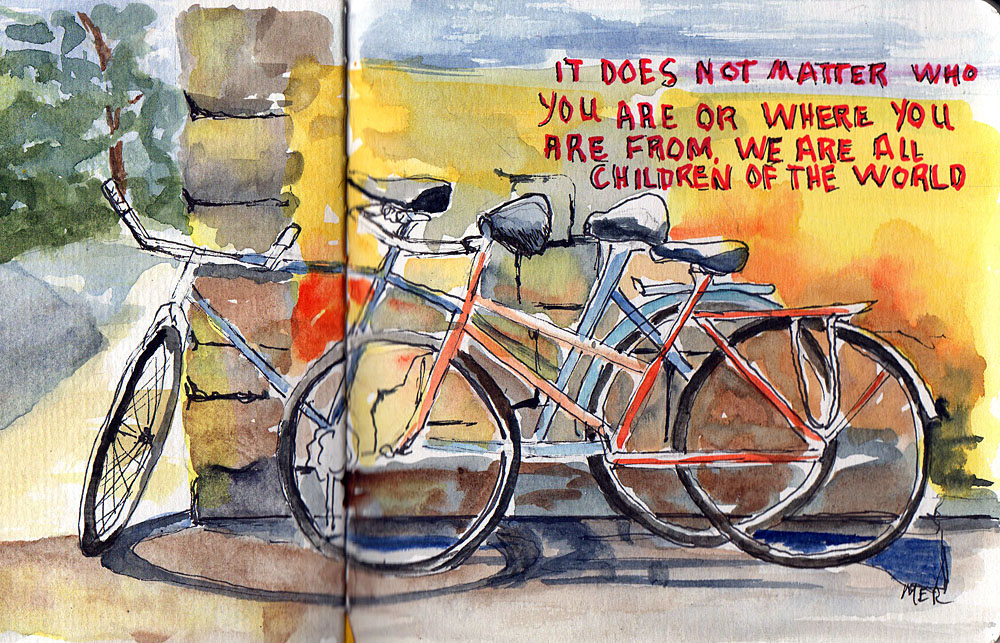4/24/18 Bikes Painted from a photo I took when visiting Animal Kingdom in Orlando last year with som