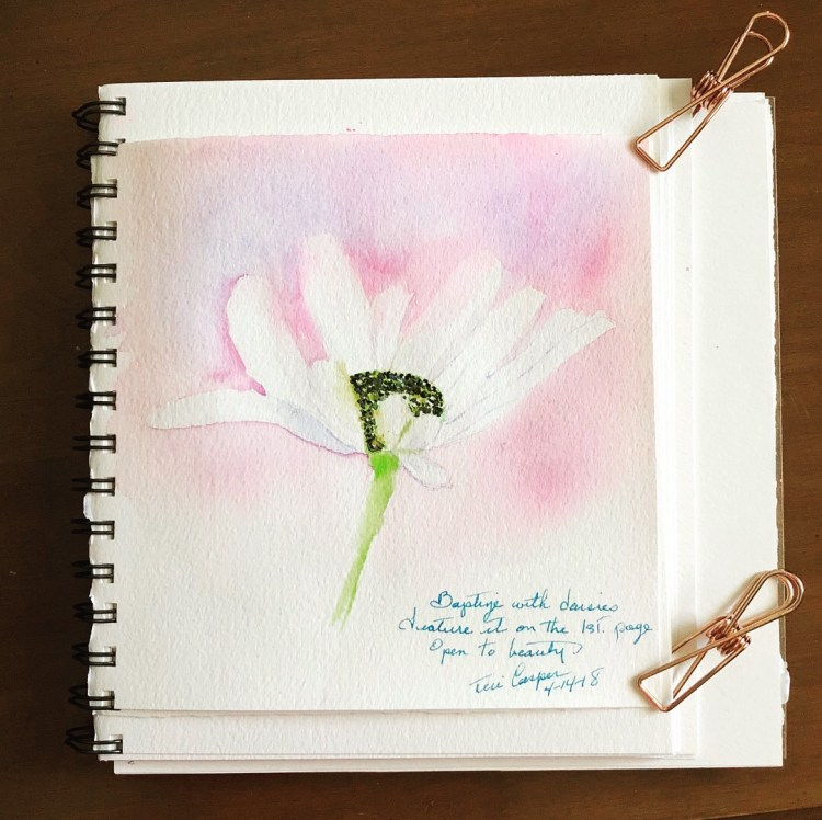 I have developed a tradition of painting a daisy on the first page of my new journals. It's not ex