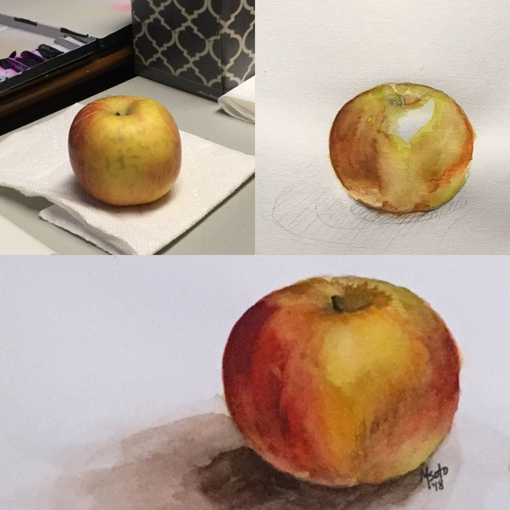 I just started taking private art lessons and this is my first project, a watercolor apple I did las
