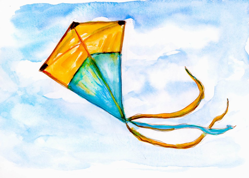 Day 15 - Kite Blowing In The Wind - #doodlewashApril2018 Doodlewash