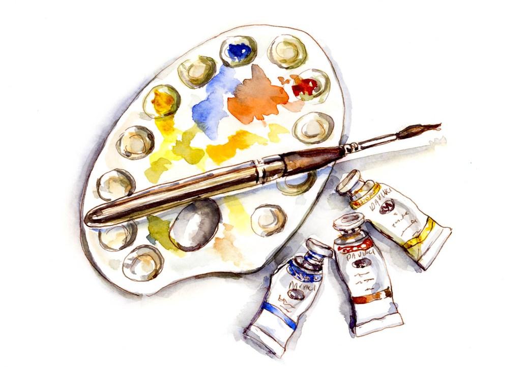 Day 16 - Charlies Shiny Da Vinci Watercolor Trio - ©Doodlewash