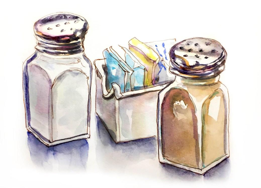 Day 19 - Urban Picnic - Salt and Pepper - Urban Sketching - Doodlewash