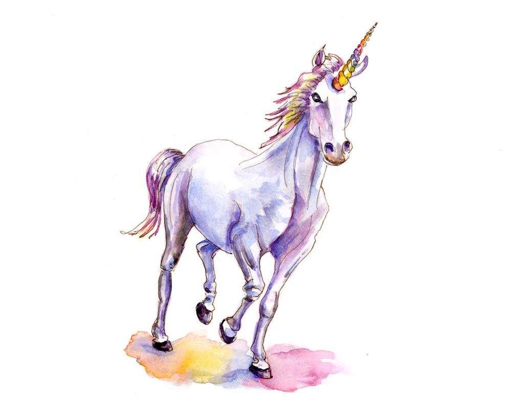 Day 30 - Unicorn Watercolor Illustration - #doodlewashApril2018 - Doodlewash