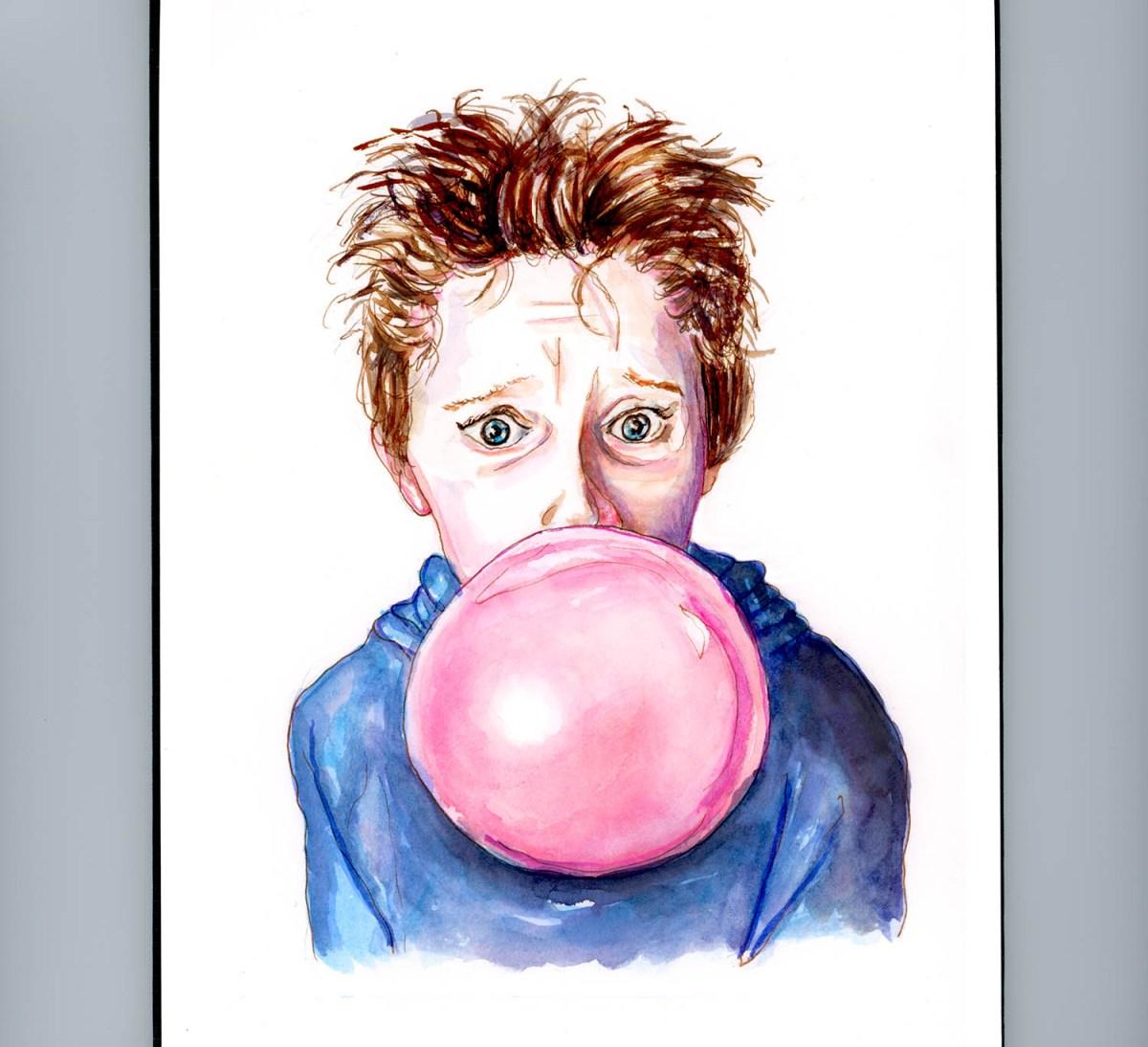 Day 7 - Waiting For The Bubble To Pop Boy Blowing Bubbles - #doodlewashApril2018 Doodlewash