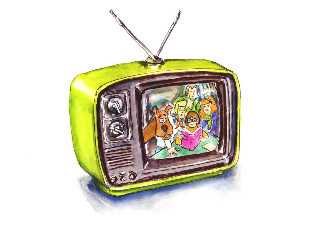 Day 9 - Retro Television Scooby Doo Watercolor - Doodlewash