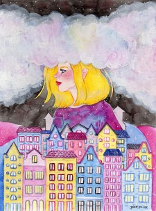 Head In The Clouds - Watercolor Illustration by Jean Balogh - Doodlewash