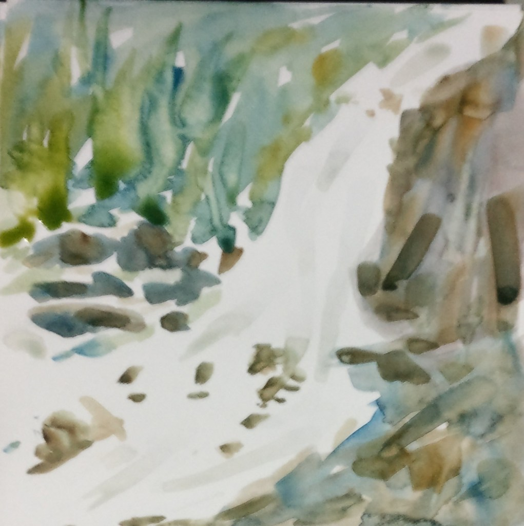 #One Minute WC Painting #Waterfall inspired by a co-WC Artist IMG_20180405_092545_01