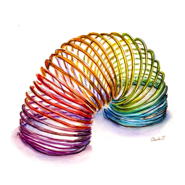 Painting And Sketching Like A Kid - Slinky Watercolor Sketch