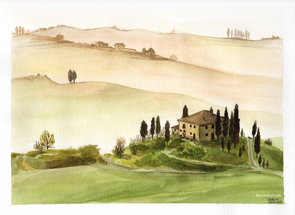 Tuscany - Watercolor Illustration by Jean Balogh - Doodlewash