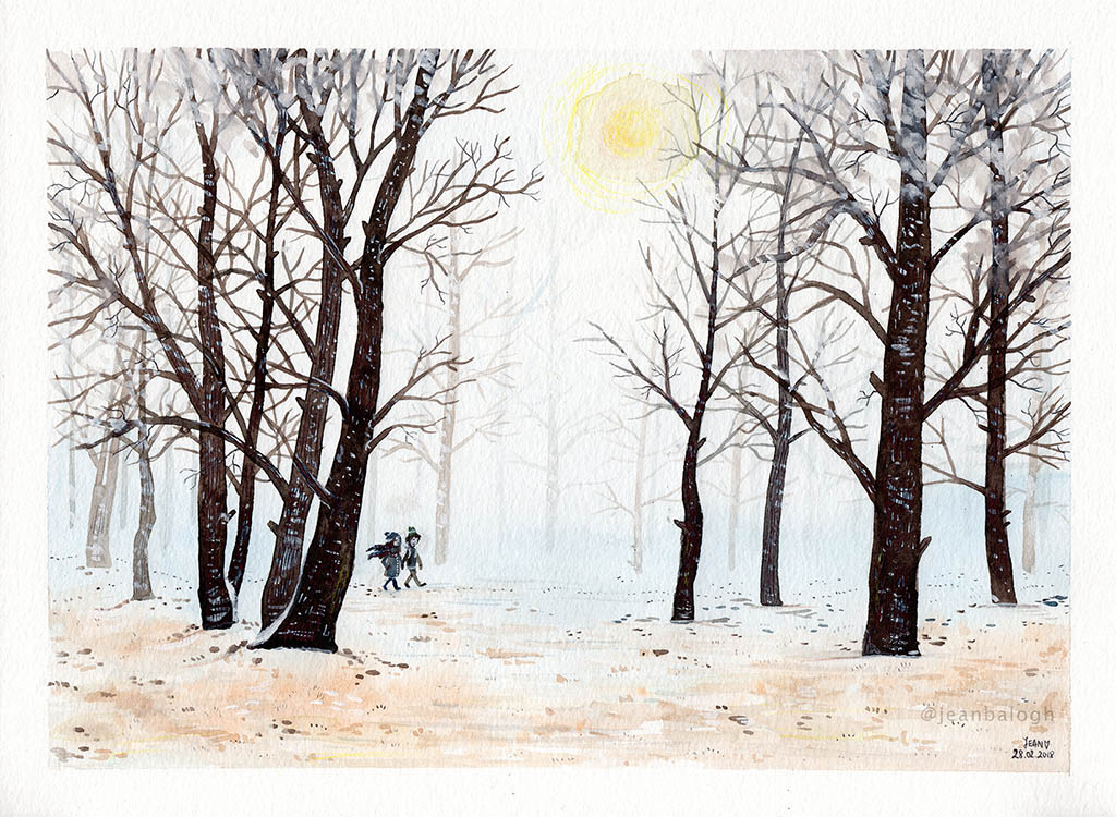 Winter - Watercolor Illustration by Jean Balogh - Doodlewash