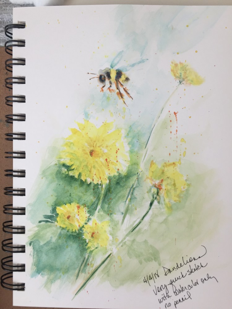 Quick sketchbook sketch for the Dandelion sketch (and ubiquitous bee) andelion