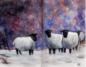 Quick, loose painting of snowy sheep…fitting for this snowy day. Watercolour in Stillman and B