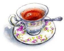 Watercolor Tea Cup Doodlewash May 2018 Art Challenge