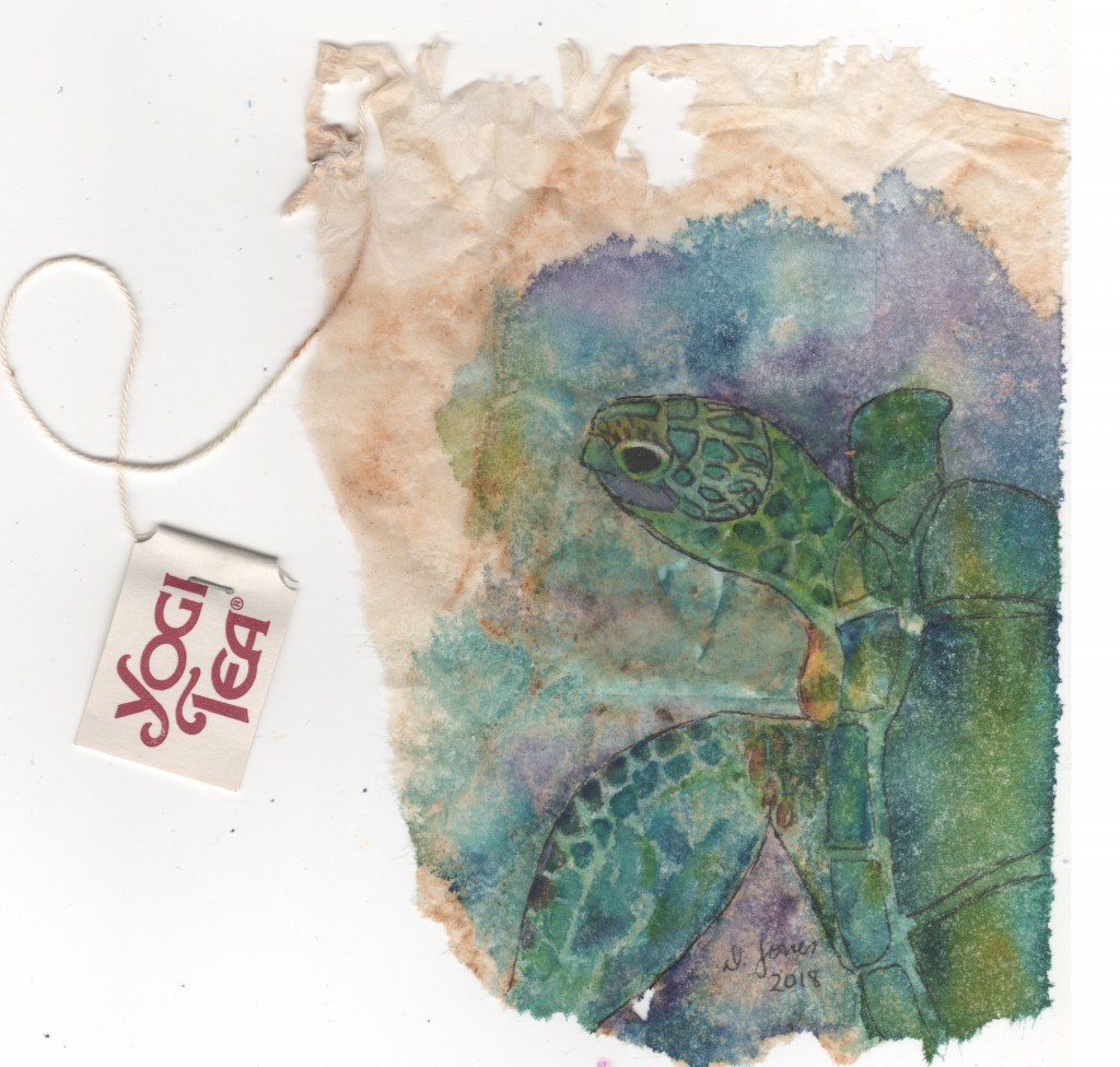 More tea bag art one of the tea plant and one of a sea turtle using watercolor and a bit of gouache.