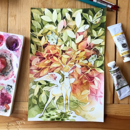 Watercolor Painting by Erin Vaganos - Doodlewash #WorldWatercolorGroup