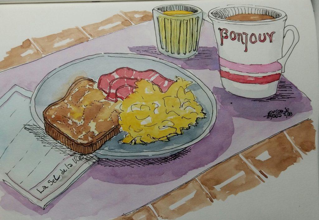 Día 3: breakfast Adoro los huevos revueltos con panceta y tostadas. 20180503_204509-1