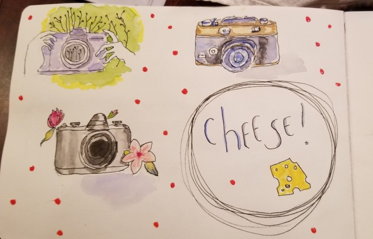 #Doodlewash prompt for May 13: camera. Why watch playoff hockey if you can listen to it while painti