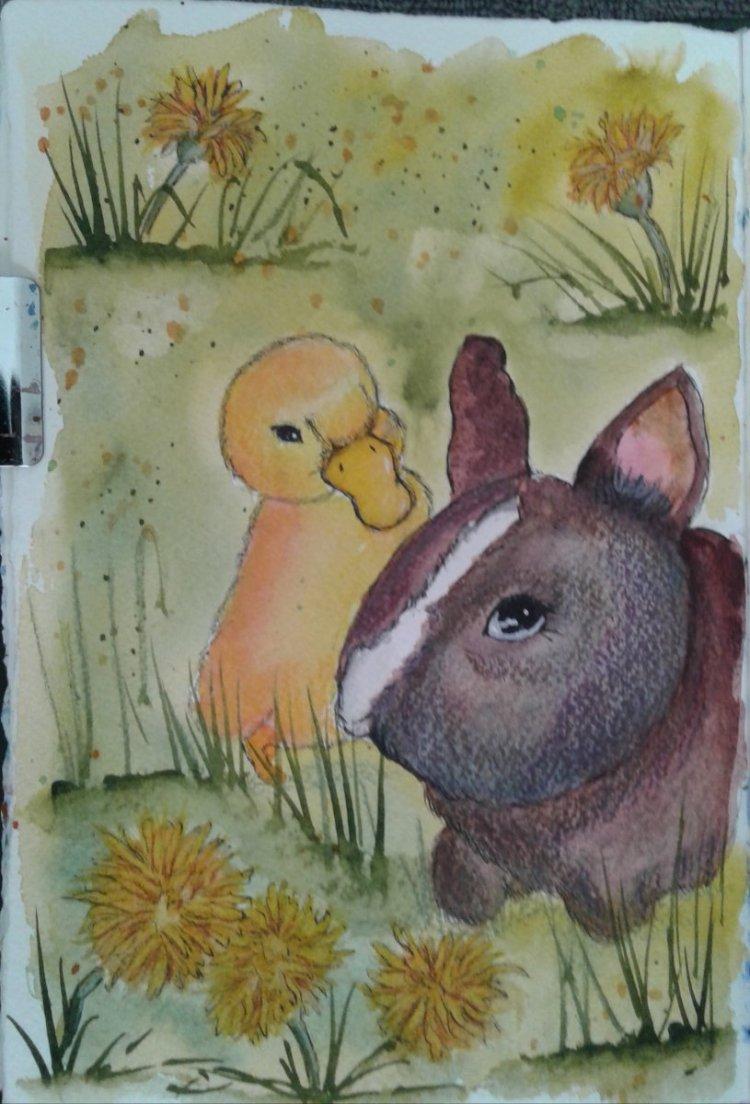 Day 320…babies Baby animals are soooo cute. Especially baby ducks and bunnies. #worldwatercolo