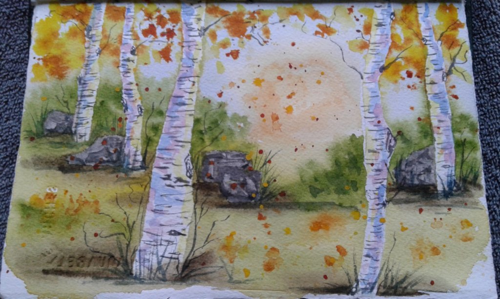 Day 327…leaves We are barely out of winter and yet I painted autumn leaves falling. Mainly bec
