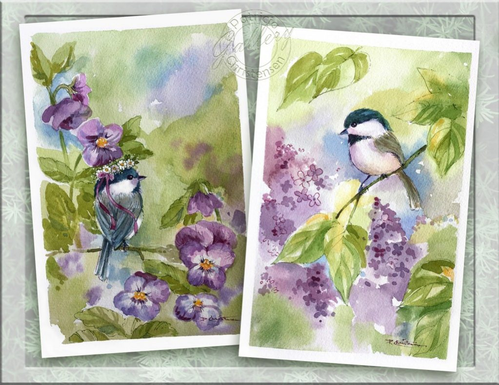Chickadee Lilacs - Watercolor Painting by Patricia Lee Christensen - Doodlewash
