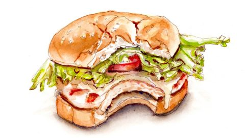 Day 12 - Taking A Big Bite - Sandwich Watercolor #doodlewashMay2018 Doodlewash
