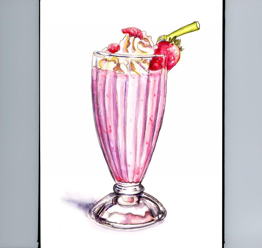 Day 29 - A Strawberry Milkshake Watercolor Painting - #doodlewashMay2018 Doodlewash