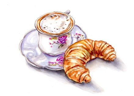 Day 3 - Coffee And Croissant Watercolor_A Lovely Start To The Day_