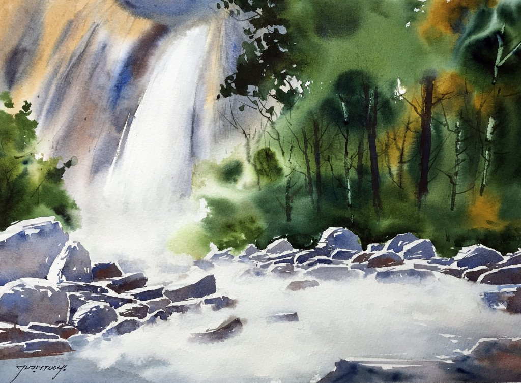 paint a waterfall In Watercolor - Painting Water - Doodlewash