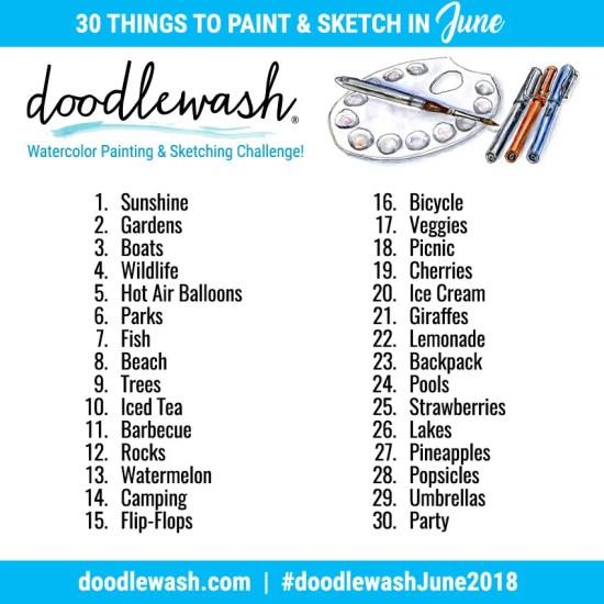 June Art Challenge Watercolor Sketching 2018 Doodlewash