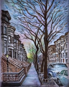 Dusk, my street in Brooklyn, early spring. 6×6 inches. Dusk