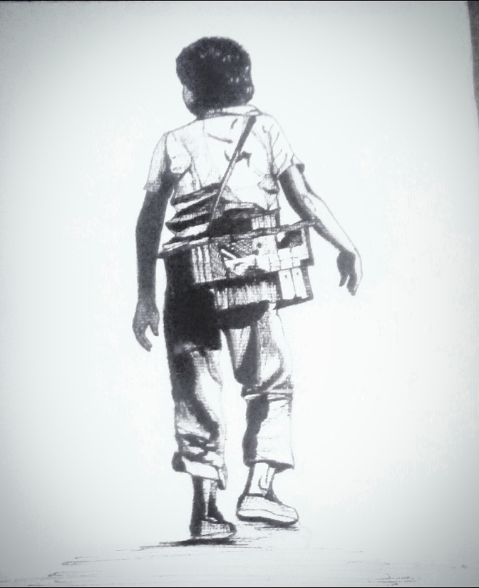 CHILD LABOUR Pen Drawing on hand made sheet IMG_20180414_200234_931