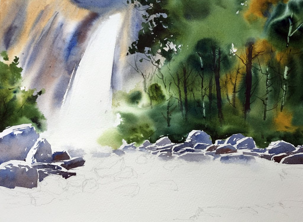 paint a waterfall In Watercolour - Adding Rocks - Doodlewash