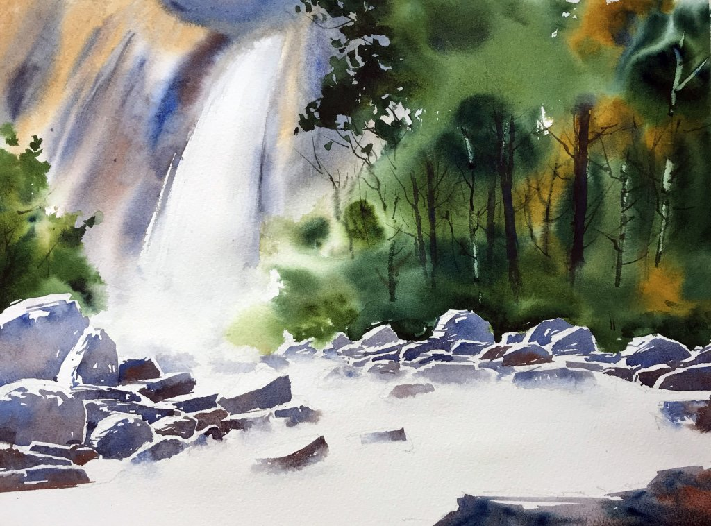 paint a waterfall In Watercolor - Adding Foreground Rocks - Doodlewash