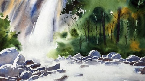 Paint A Waterfall In Watercolor Final Image - Doodlewash