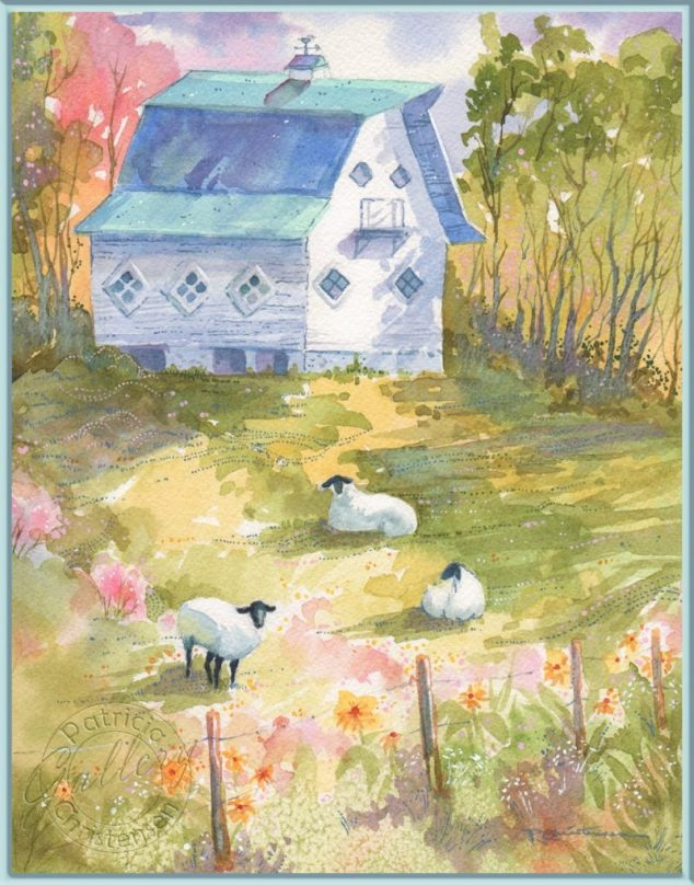 Sheep Barn Print - Watercolor Painting by Patricia Lee Christensen - Doodlewash