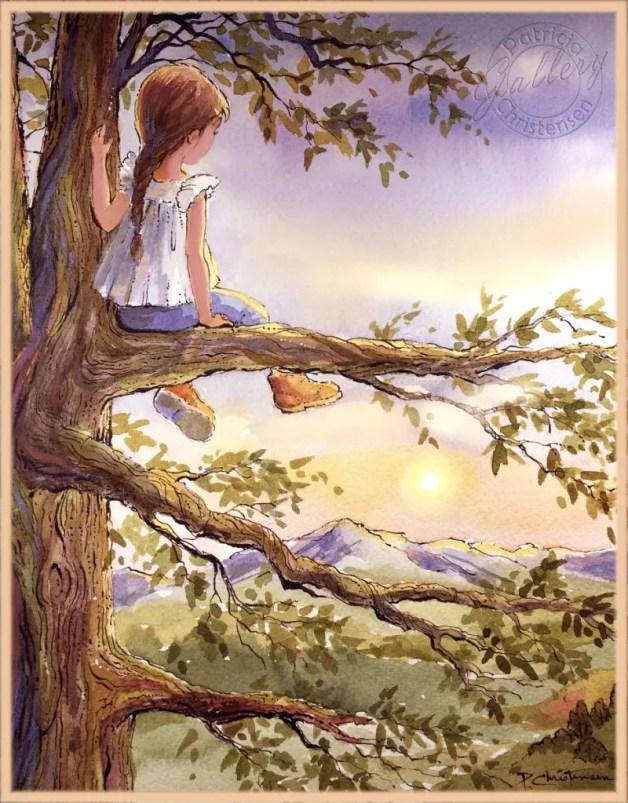 Tree Adventure - Watercolor Painting by Patricia Lee Christensen - Doodlewash