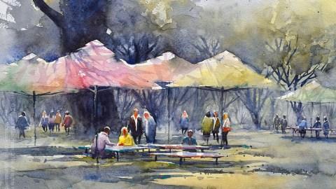 Umbrellas At Kiseleff Park Watercolour Painting by Dhruba Mazumder - Doodlewash.com - #WorldWatercolorGroup