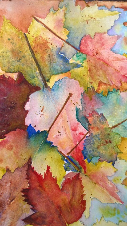 #doodlewash #paintingprompts #leaves Watercolor that began as an attempt at negative work 🙂 leave