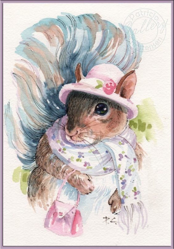 Molly Squirrel - Watercolor Painting by Patricia Lee Christensen - Doodlewash