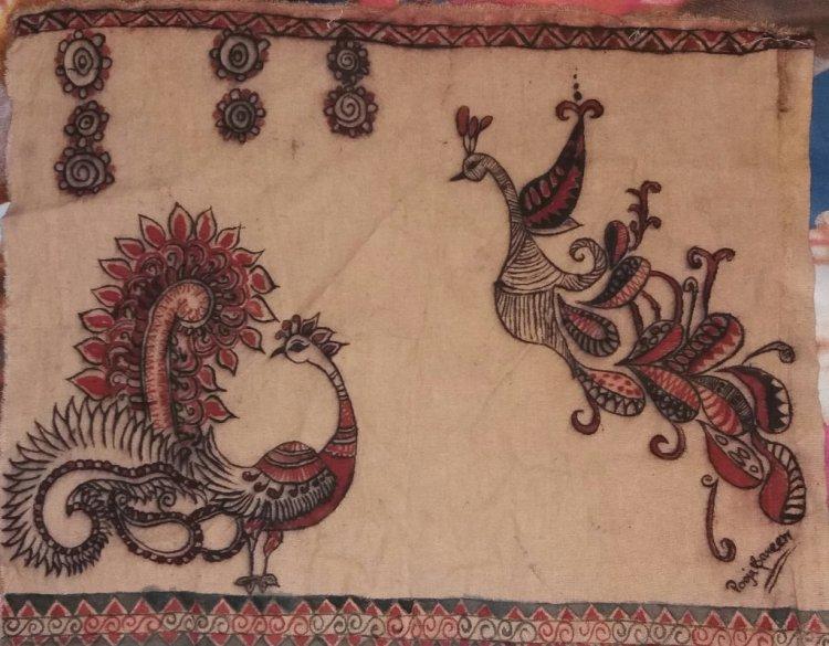 #anilk#designwithpooja#kalamkari#kalamkarionfabric#freehandpainting#withtraditioncolor#naturalcolor#