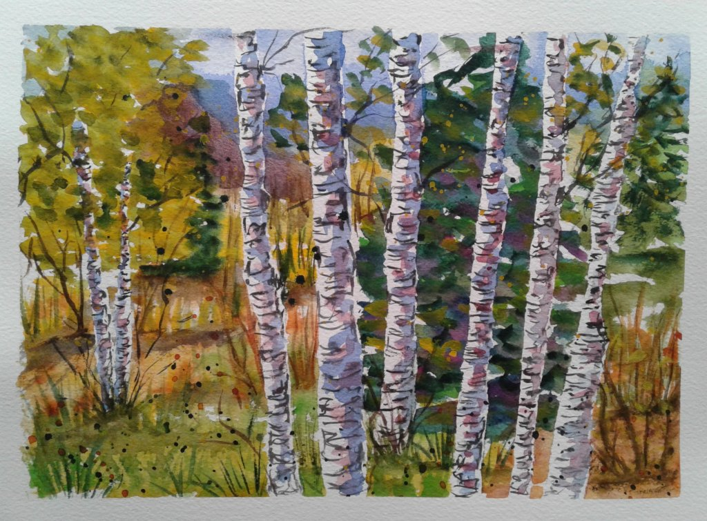 Day 342…trees I love painting aspen/birch type trees. He contrast of the dark lines against th