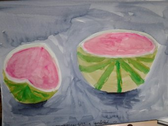 Played catch up today. They aren't great but they are done: barbecue, rocks, watermelon, campi