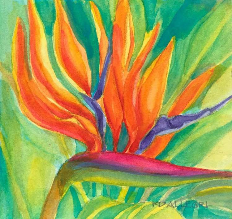 """Bird in Paradise,"" another Plein Air Watercolor that I painted in my daughter's g"