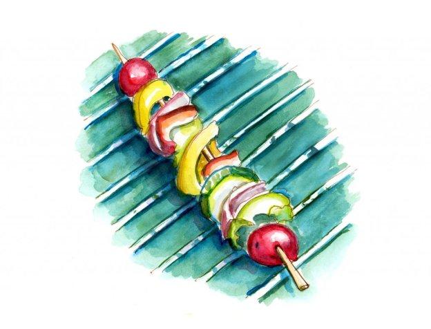Day 11 - Vegetable Kebab Barbecue Illustration - #doodlewashJune2018 Doodlewash